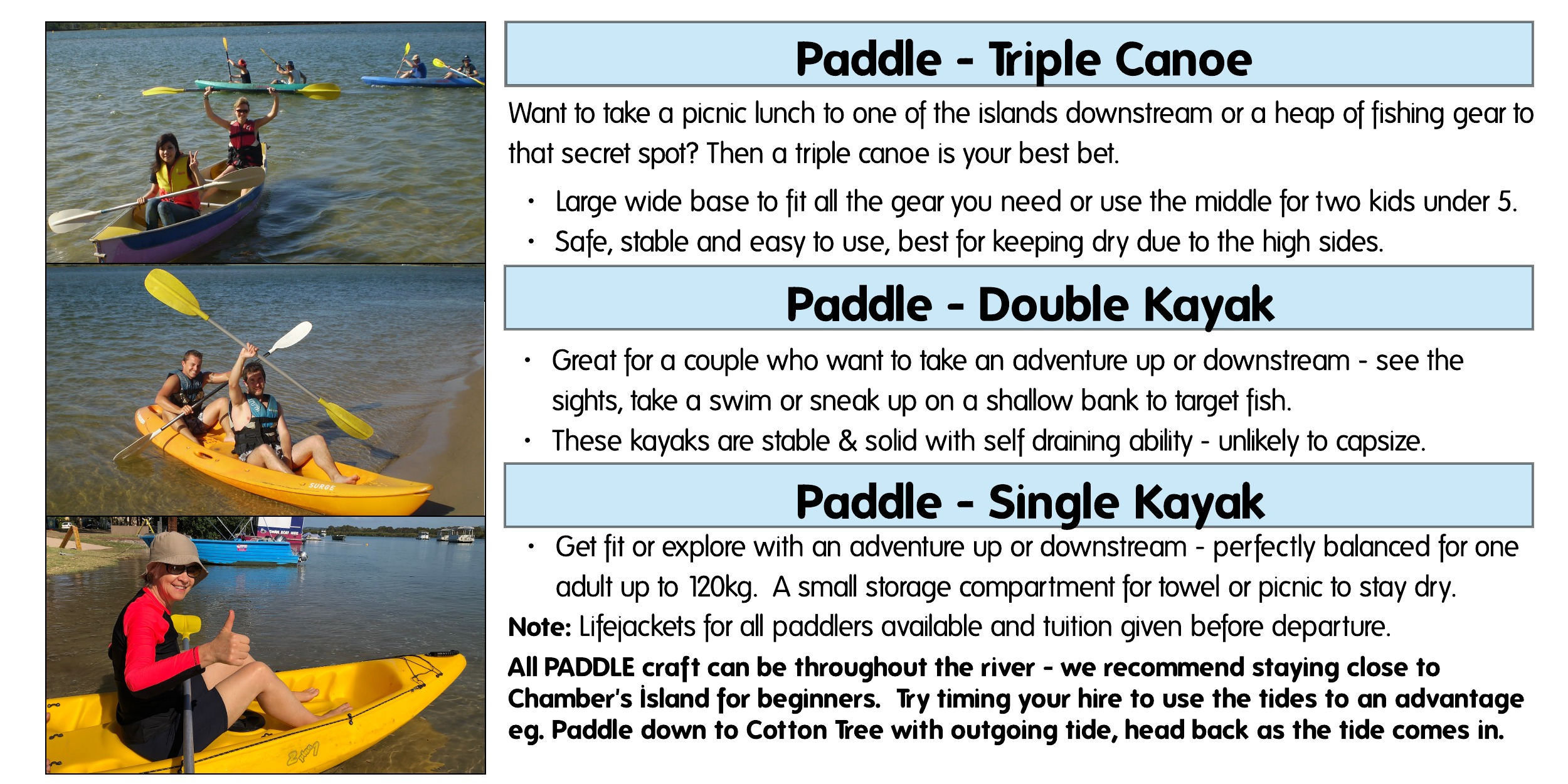 Boat types Paddles