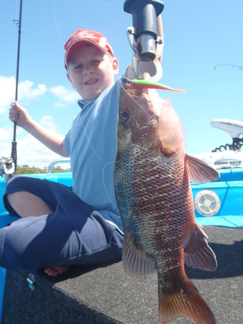 Lachlan_With_A_Maroochy_River_Mangrove_Jack_on_a_soft_Plastic_21-12-2011