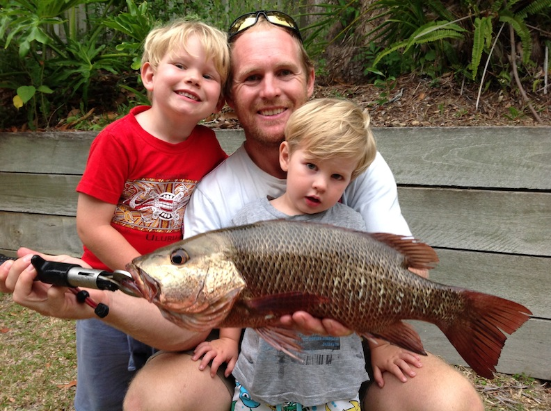 49cm jack maroochy river dad Jason with sons tommy and Jarvis caught on a bomber lure very exciting afternoons fishing