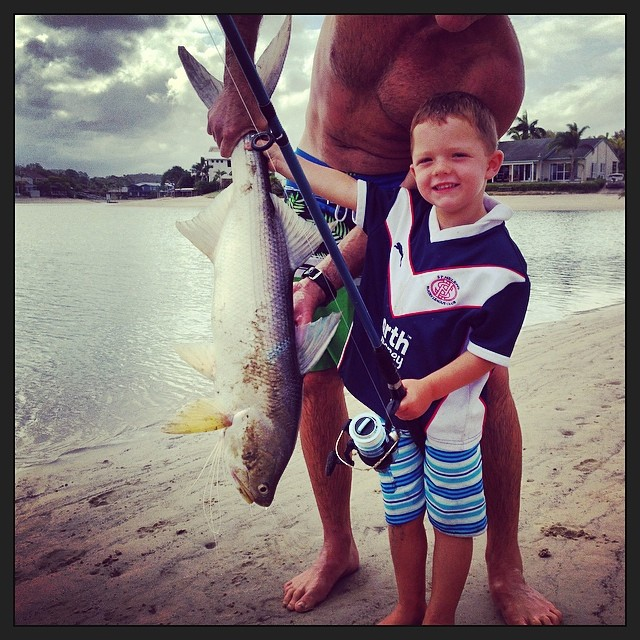 3 Yr old Harry Hooper - 9kg King threadfin caught in Mooloolaba Canal